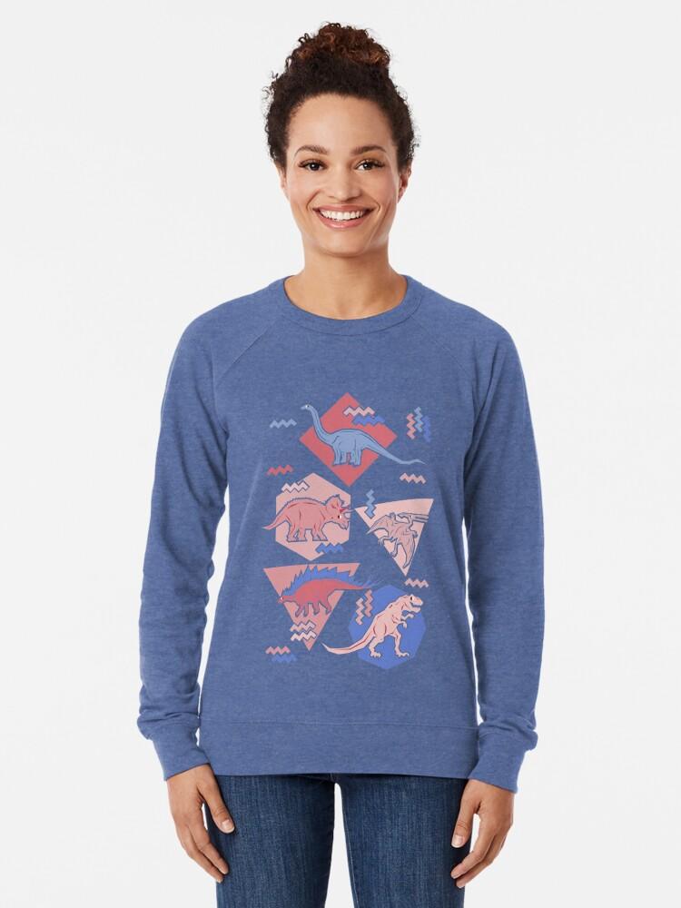 Alternate view of 90's Dinosaur Pattern - Rose Quartz and Serenity version Lightweight Sweatshirt
