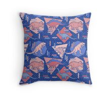90's Dinosaur Pattern - Rose Quartz and Serenity version Throw Pillow