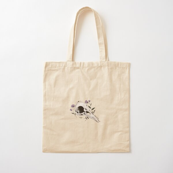 Raven Skull with Lilac Cotton Tote Bag