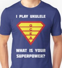 I PLAY UKULELE WHAT IS YOUR SUPERPOWER? Red/Yellow on Blue Musician Design T-Shirt