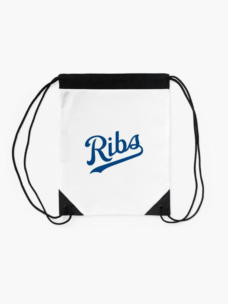 Alternate view of KC Ribs - White 1 Drawstring Bag