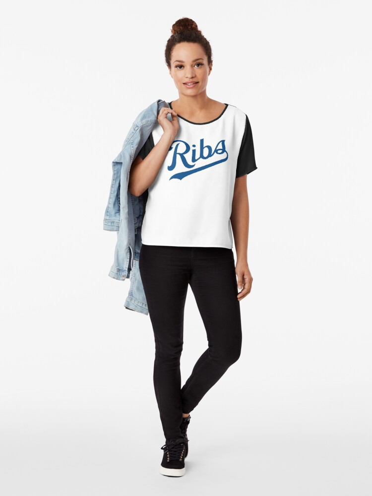 Alternate view of KC Ribs - White 1 Chiffon Top