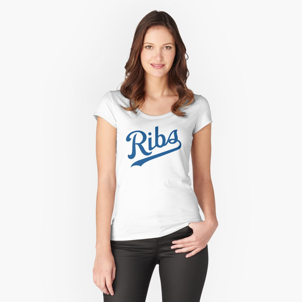 KC Ribs - White 1 Fitted Scoop T-Shirt