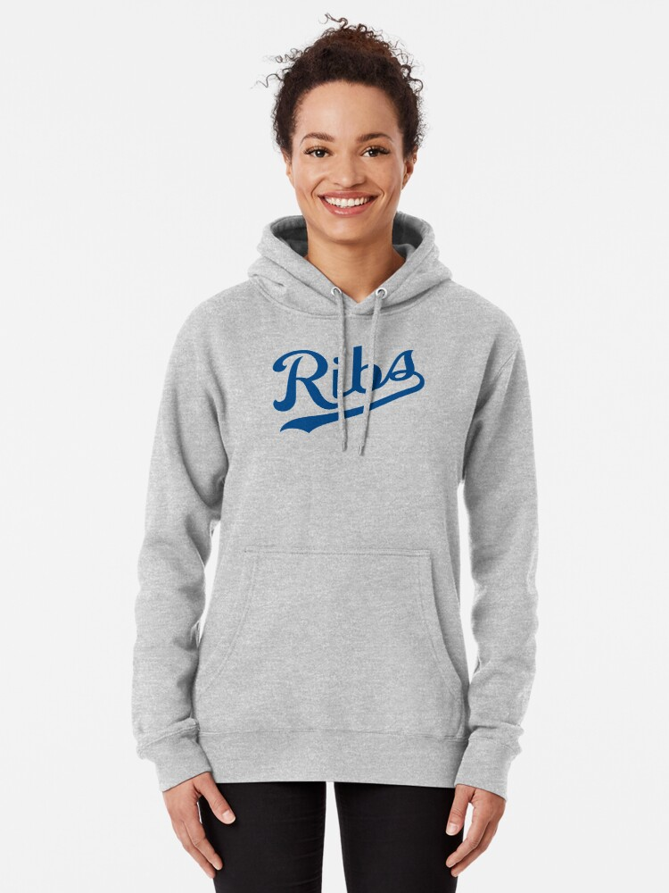 Alternate view of KC Ribs - White 1 Pullover Hoodie