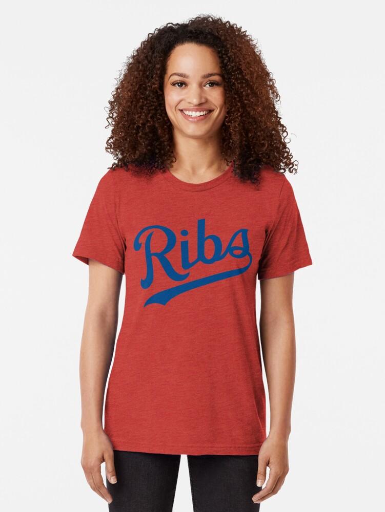 Alternate view of KC Ribs - White 1 Tri-blend T-Shirt
