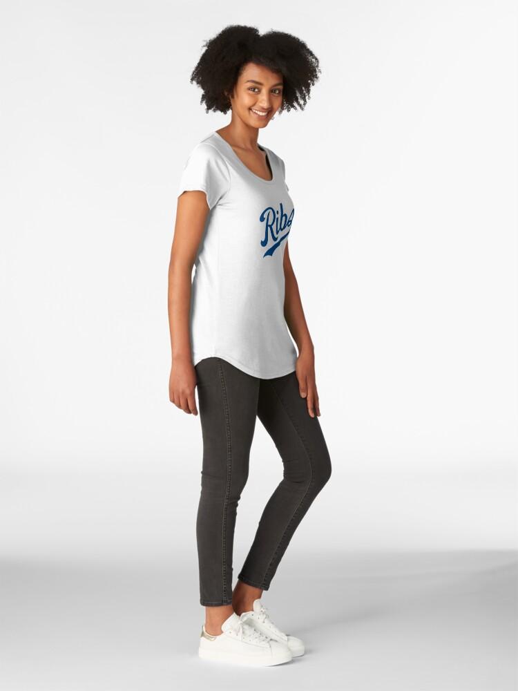 Alternate view of KC Ribs - White 1 Premium Scoop T-Shirt
