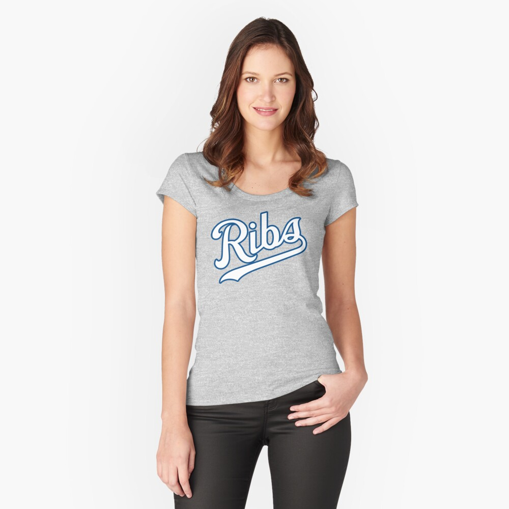 KC Ribs - Powder Blue 2 Fitted Scoop T-Shirt