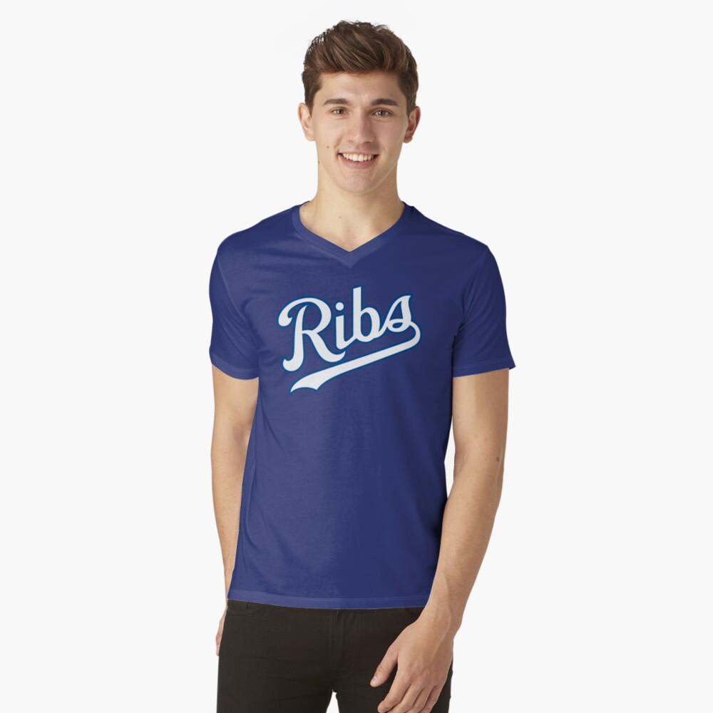 KC Ribs - Powder Blue 2 V-Neck T-Shirt