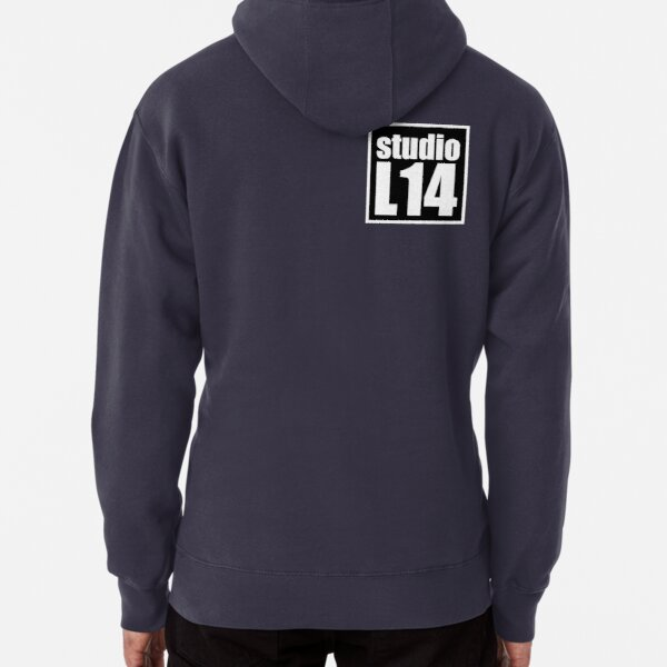 L14 Logo White on Black Pullover Hoodie