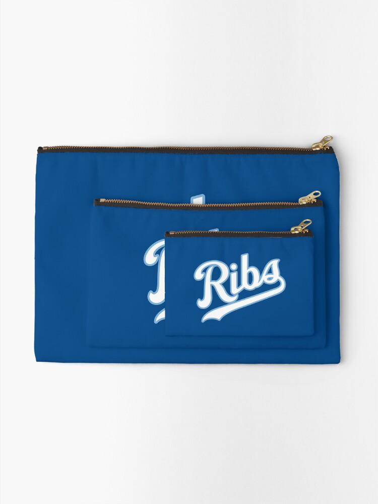 Alternate view of KC Ribs - Blue 2 Zipper Pouch