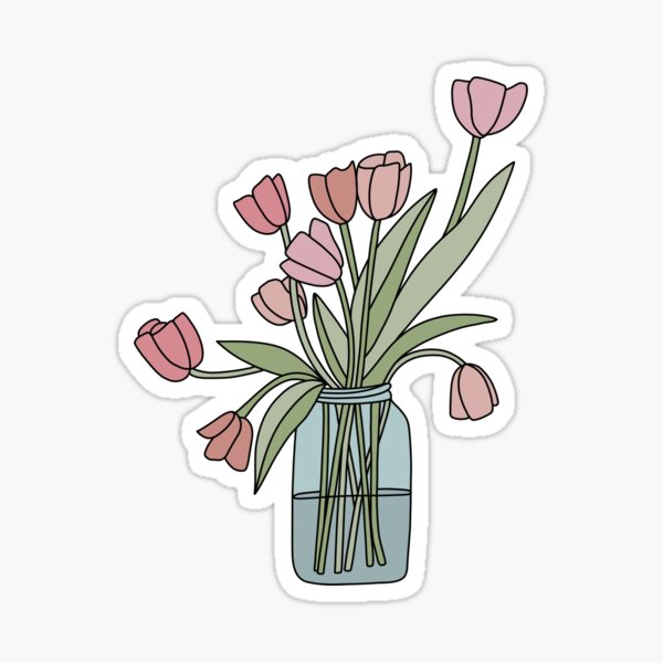 Simple Tulip Bouquet Sticker