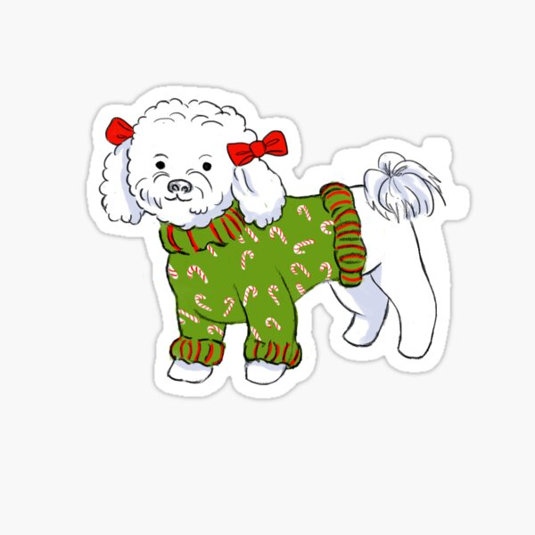 Candy Cane Bichon Sticker