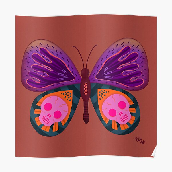 Skull Patterned Butterfly Poster
