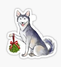 Siberian Huskey with Mistletoe Sticker