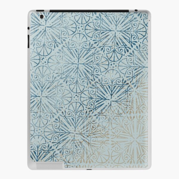 Simple Ethnic Ombre Dusty Navy Creme Deco Tiles Textured Stamp Pattern iPad Skin