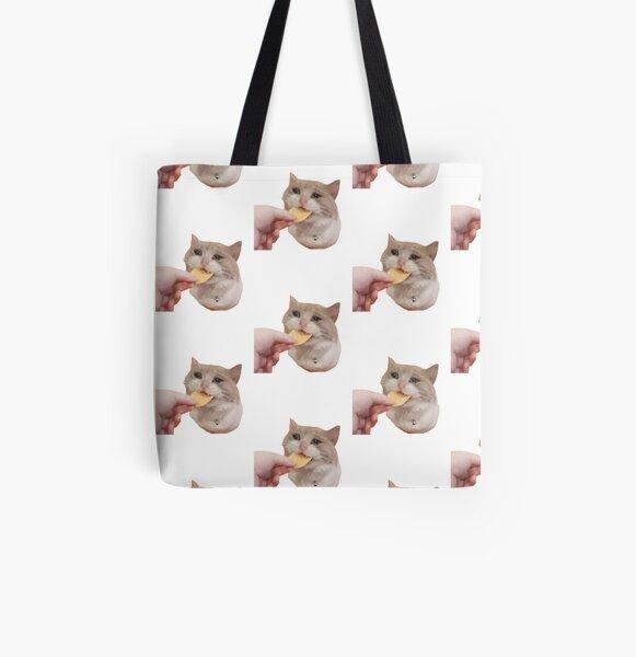 Crying Cat Chip Meme - Crying Cat Meme Crying Cat Chip Meme, Cat Meme, Crying Cat, Crying Cat Eating All Over Print Tote Bag