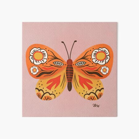 Floral patterned butterfly Art Board Print
