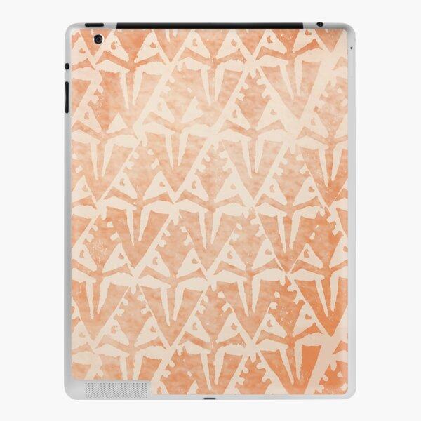 Simple Ethnic Ombre Orange Creme Floral Diamonds Textured Stamp Pattern iPad Skin
