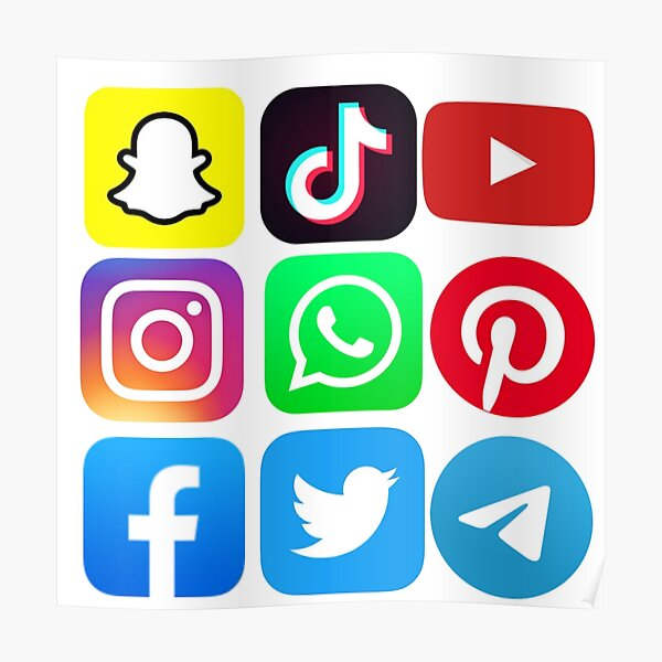 Social media icons stickers Poster
