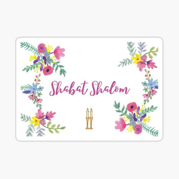 Shabbat Shalom with flowers Sticker