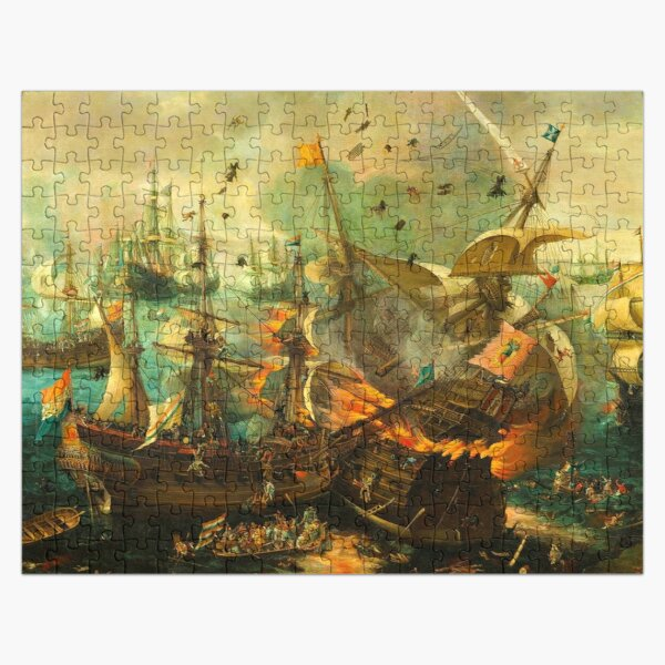 Jigsaw Puzzle Epic Battle of Gibraltar between the Dutch and Spanish in 1607, 1000 Piece Adults Jigsaw Puzzle