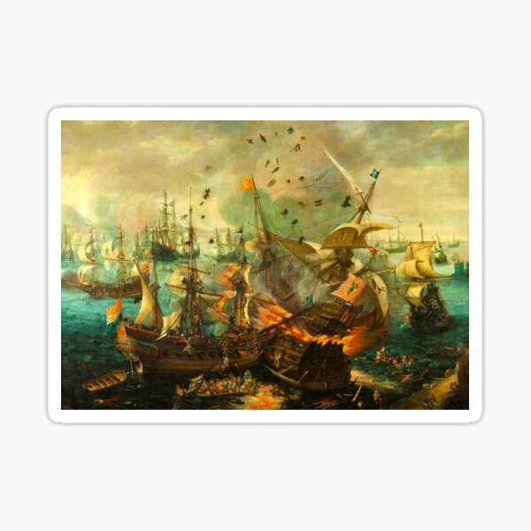 Jigsaw Puzzle Epic Battle of Gibraltar between the Dutch and Spanish in 1607, 1000 Piece Adults Sticker