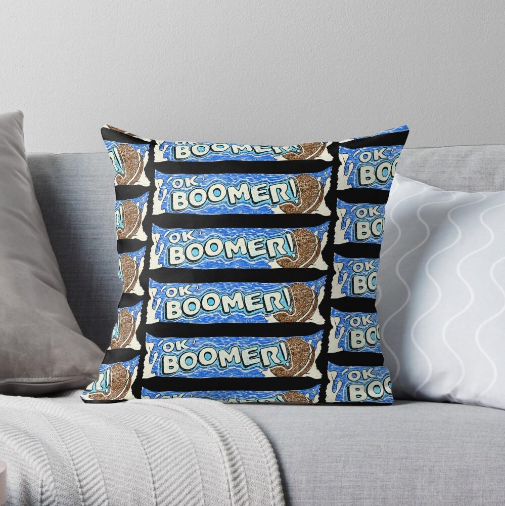 OK Boomer (Black) Throw Pillow