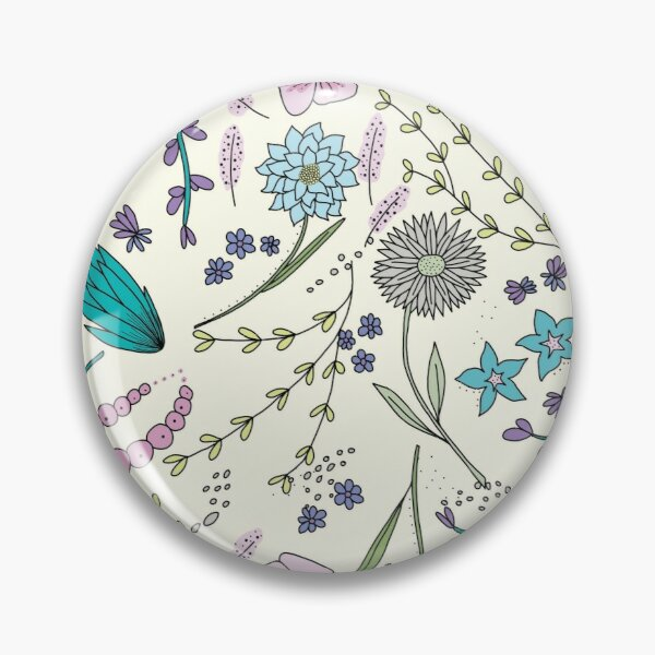 Floral Garden Pink and Blue   Original Art Illustration Pin