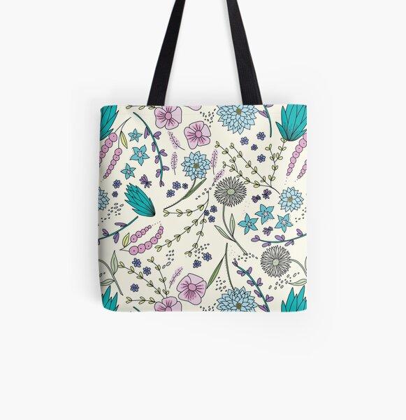 Floral Garden Pink and Blue | Original Art Illustration All Over Print Tote Bag