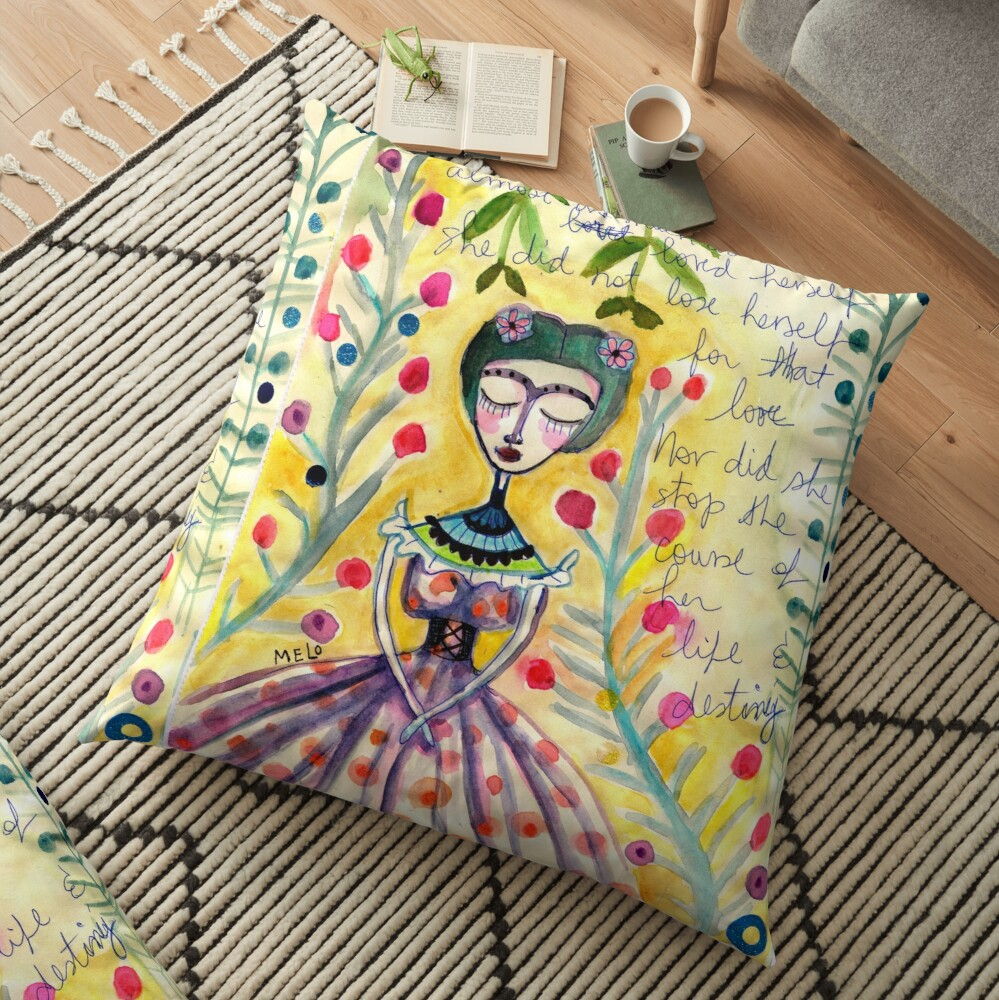 Unto Herself - a Frida kahlo Portrait by Cris Melo Floor Pillow