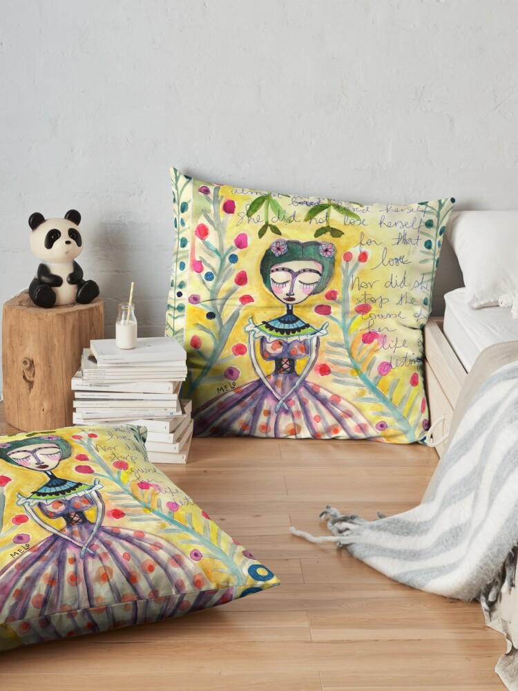 Alternate view of Unto Herself - a Frida kahlo Portrait by Cris Melo Floor Pillow