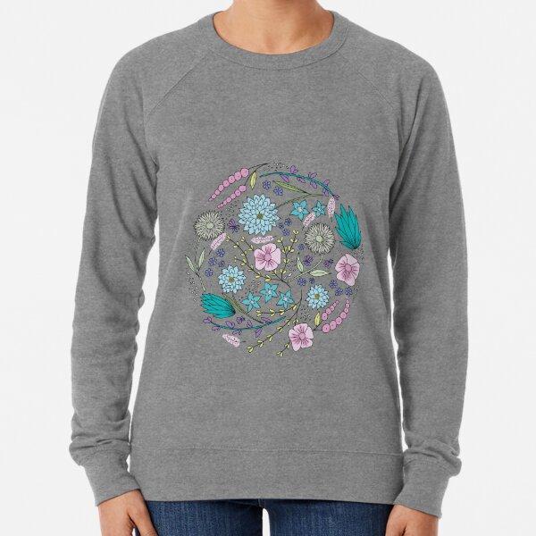 Floral Circle Pink and Blue   Original Art Illustration Lightweight Sweatshirt