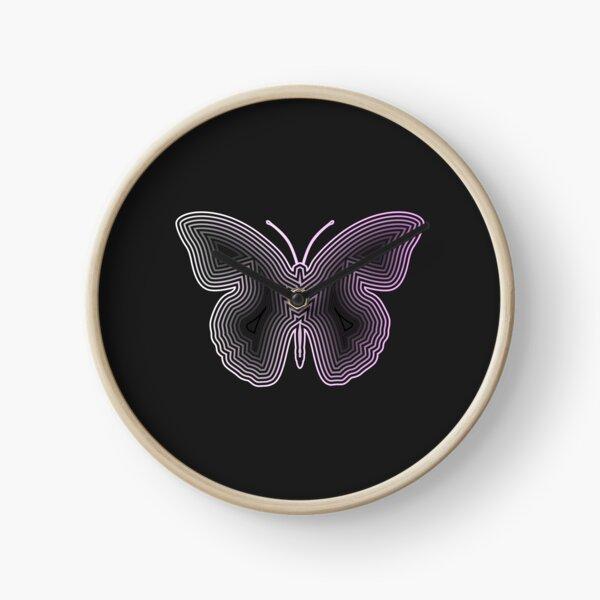 Neon Butterfly Clock