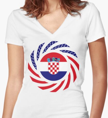 Croatian American Multinational Patriot Flag Series Fitted V-Neck T-Shirt