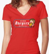 Alex Kidd Burgers Tshirt Women's Fitted V-Neck T-Shirt
