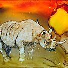 Rhino At Sunset In Alcohol Inks by Brenda Thour