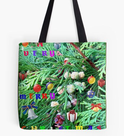 Colourful Conifer Christmas Card Tote Bag