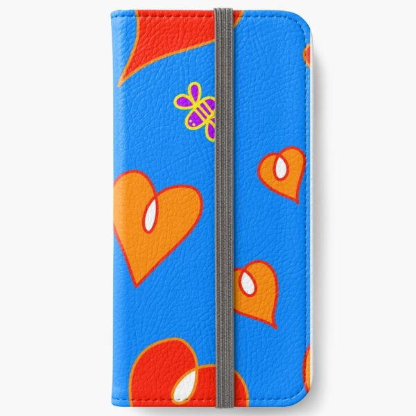 Hearts on blue background iPhone Wallet