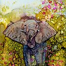 Springtime Elephant In Alcohol Ink by Brenda Thour