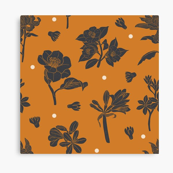 Vintage dark orange botanical pattern Canvas Print