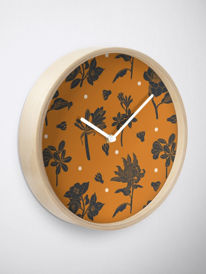 Alternate view of Vintage dark orange botanical pattern Clock