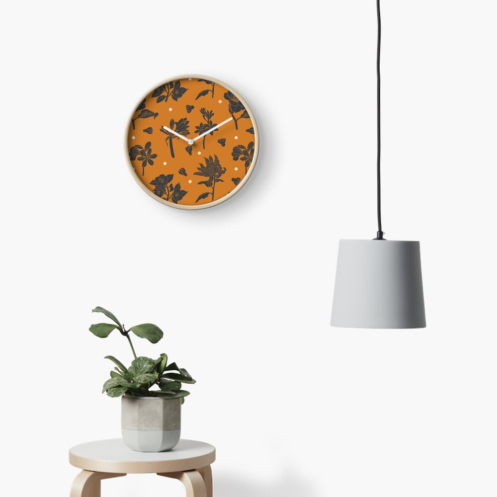 Vintage dark orange botanical pattern Clock