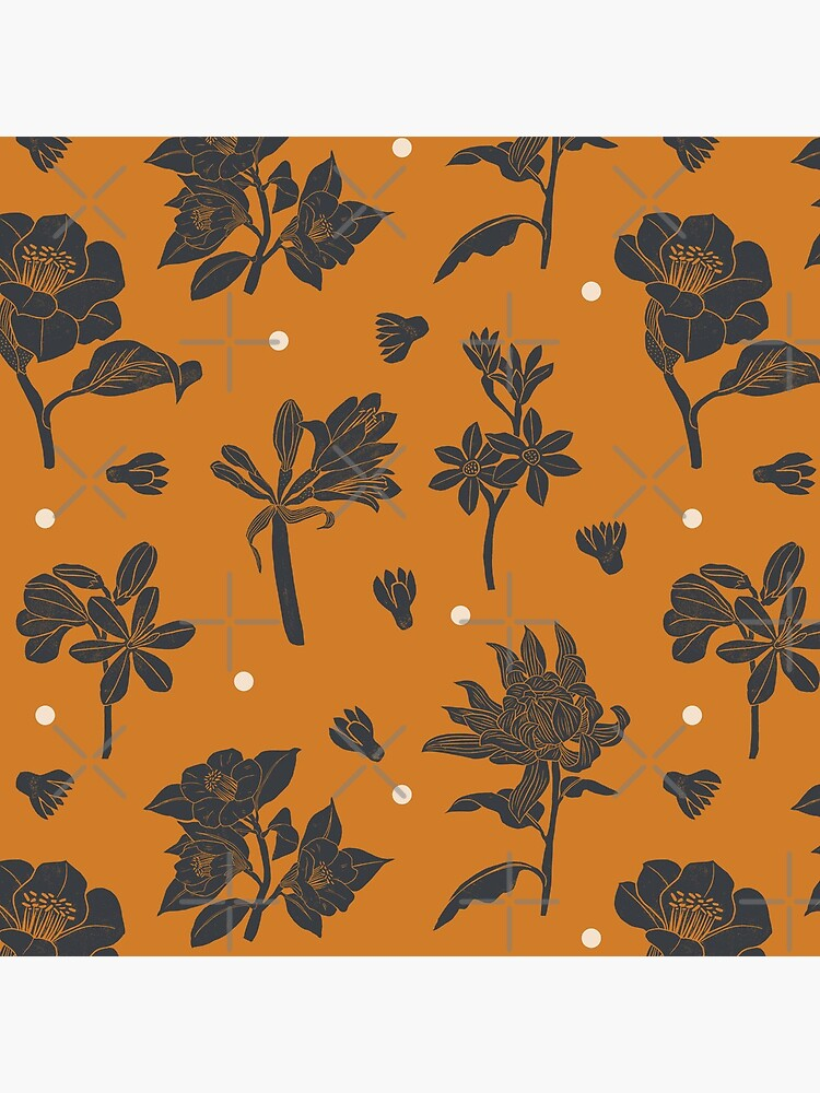 Vintage dark orange botanical pattern by szymonkalle