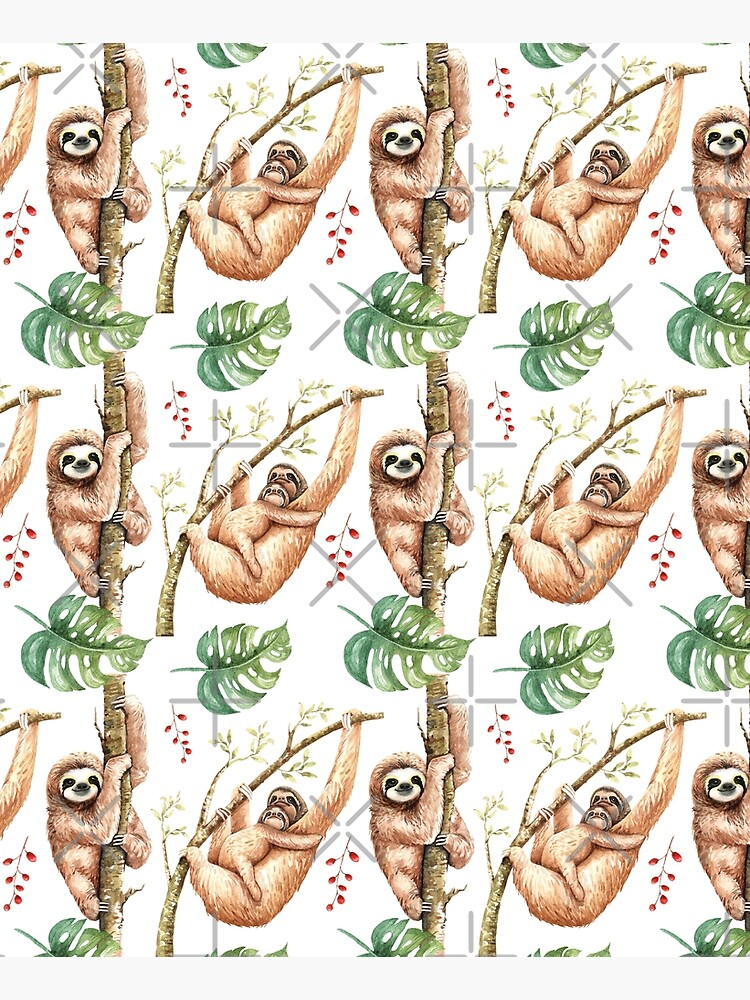 Sloth Mama & Baby Watercolour Pattern. by erinnn41