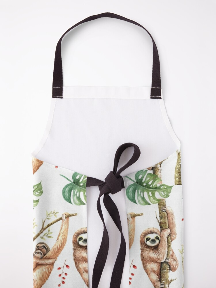 Alternate view of Sloth Mama & Baby Watercolour Pattern. Apron