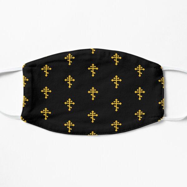 Gold 3 Bar Cross on Black Flat Mask