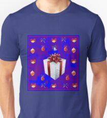 Christmas in Blue - Gift and Bells Christmas Card T-Shirt