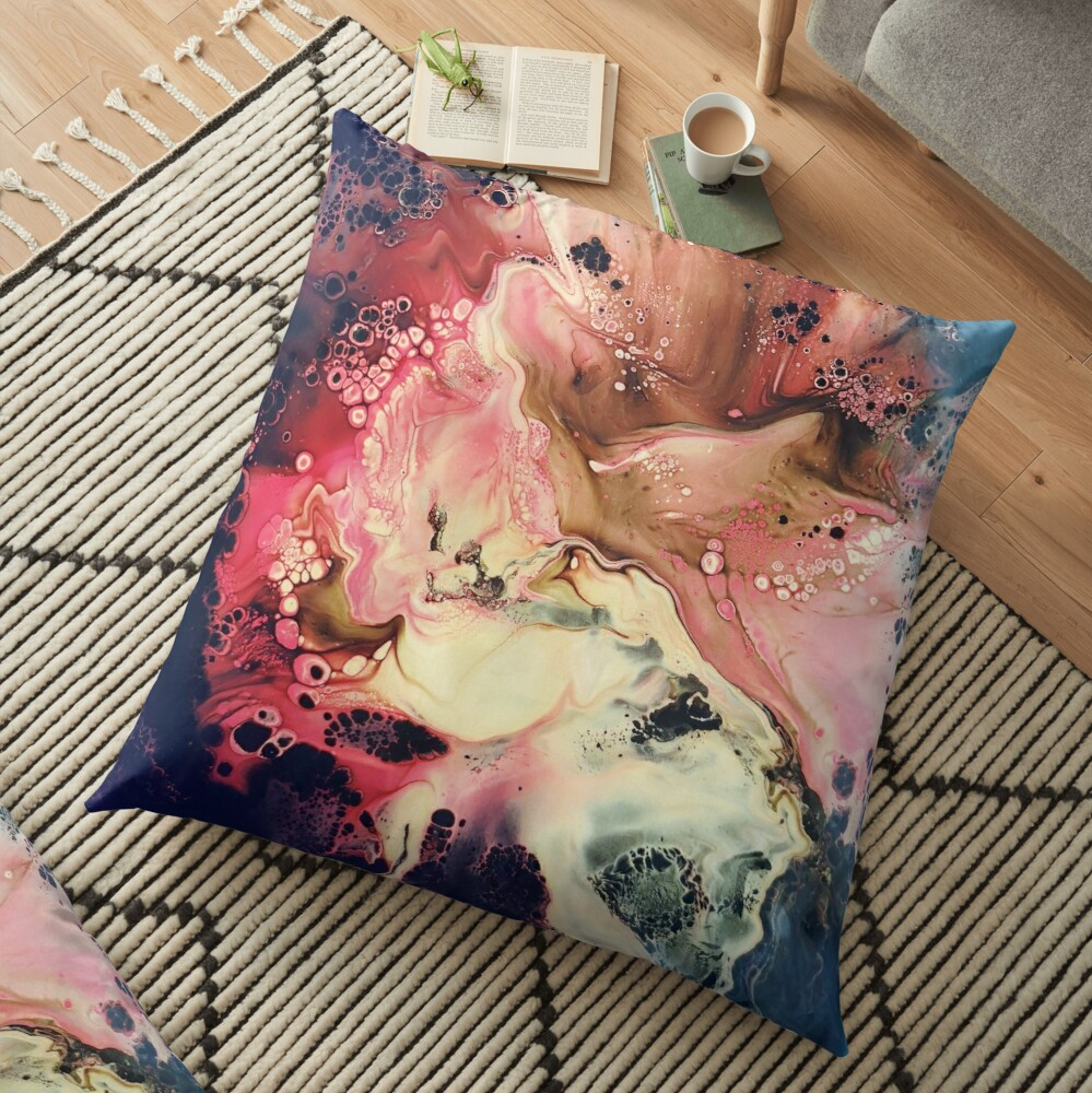 Splatter in Reds, Yellows and Blues -Acrylic Pour Galaxy Floor Pillow