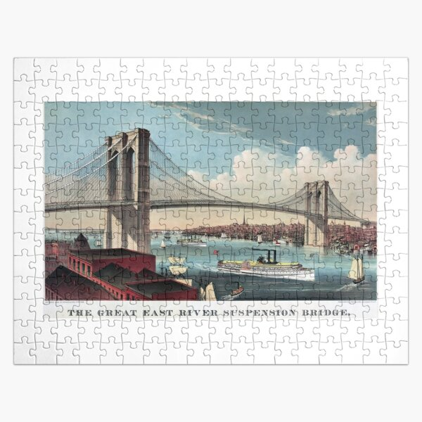 Brooklyn Bridge Art By Currier And Ives Jigsaw Puzzle