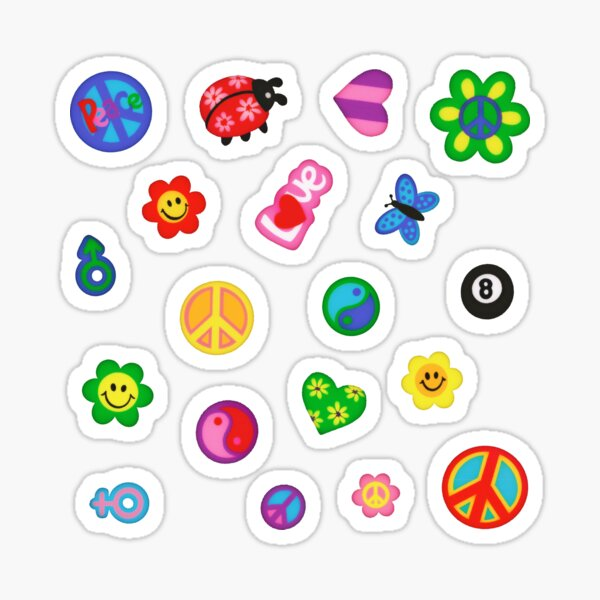 Vintage '80s Flower Power Sticker Pack Sticker